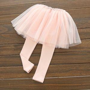 Girls Lace Ruffle Tulle Tutu Skirt Leggings Pink